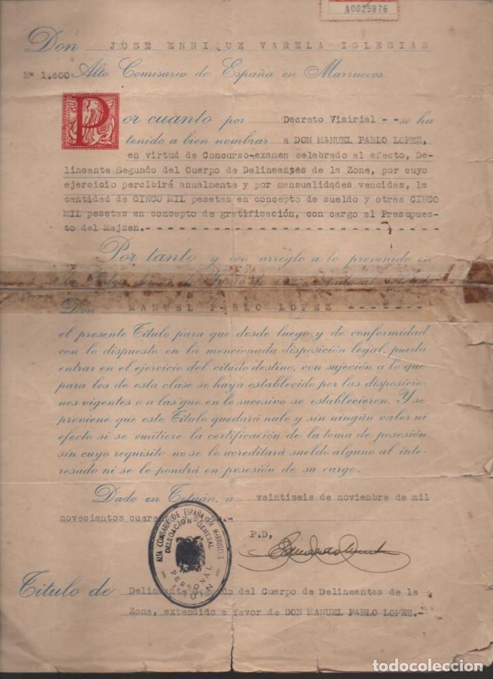 Militaria: MARRUECOS.- D. JOSE ENRIQUE VARELA IGLESIAS.- ALTO COMISARIADO EN MARRUECOS, VARIAS FIRMAS - Foto 3 - 203925303