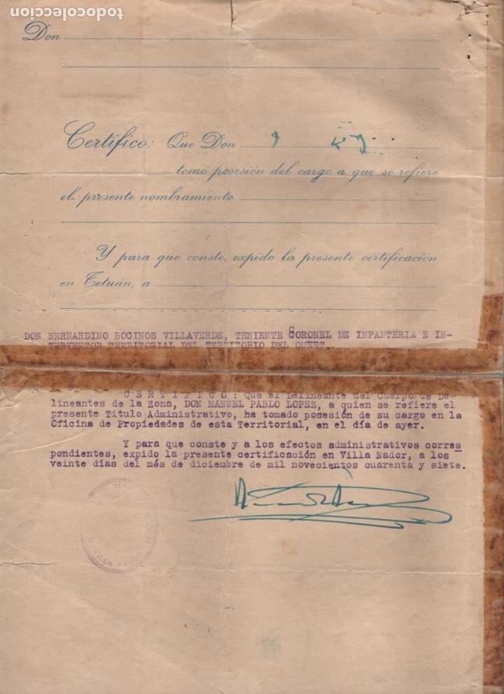Militaria: MARRUECOS.- D. JOSE ENRIQUE VARELA IGLESIAS.- ALTO COMISARIADO EN MARRUECOS, VARIAS FIRMAS - Foto 4 - 203925303