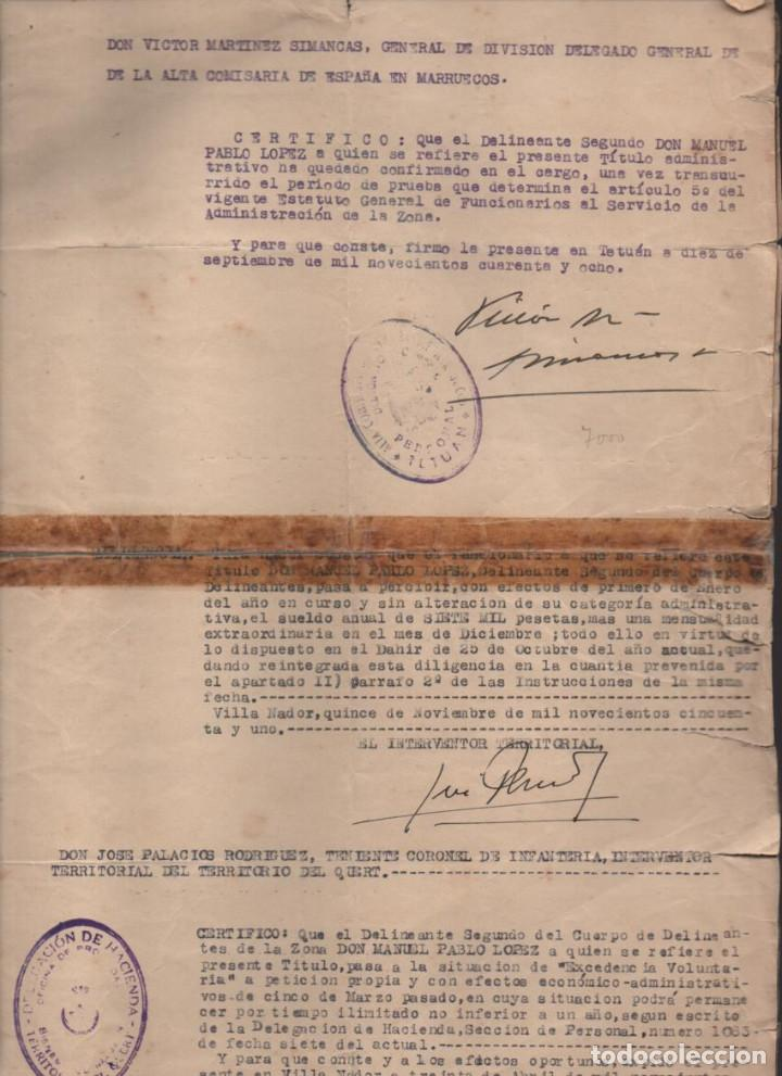 Militaria: MARRUECOS.- D. JOSE ENRIQUE VARELA IGLESIAS.- ALTO COMISARIADO EN MARRUECOS, VARIAS FIRMAS - Foto 5 - 203925303