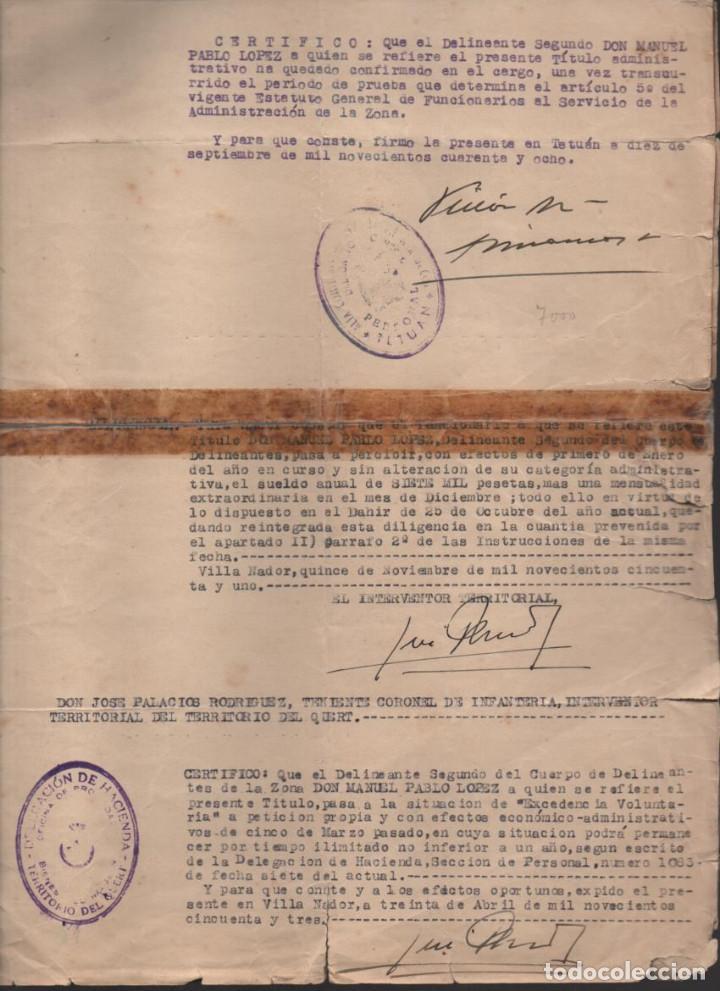 Militaria: MARRUECOS.- D. JOSE ENRIQUE VARELA IGLESIAS.- ALTO COMISARIADO EN MARRUECOS, VARIAS FIRMAS - Foto 6 - 203925303