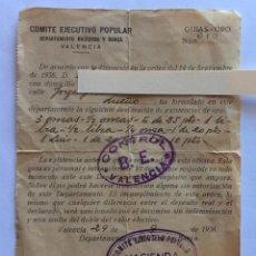 Militaria: GUÍA ORO.EXISTENCIA DE ORO.COMITÉ EJECUTIVO POPULAR HACIENDA Y BANCA.VALENCIA.24-9-1936 GUERRA CIVIL. Lote 203932598