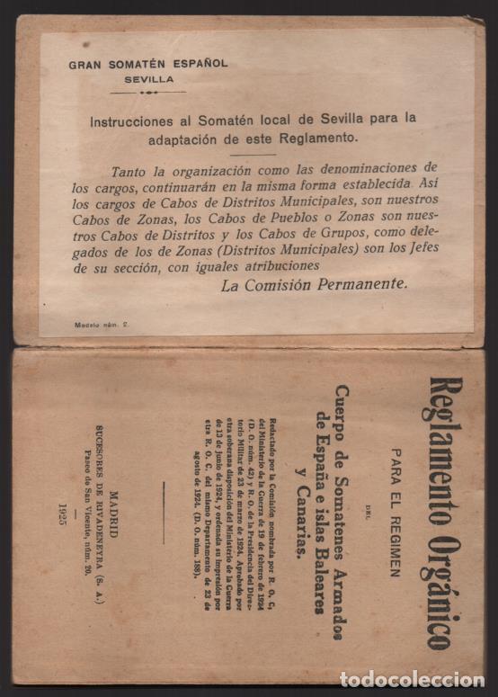 Militaria: SOMATENES ARMADOS DE ESPAÑA.- REGLAMENTO ORGANICO- 1925- VER FOTOS - Foto 3 - 204356826