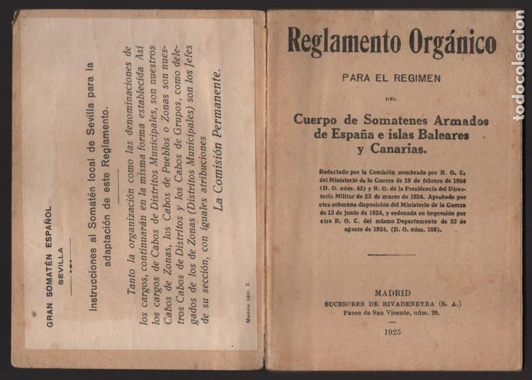 Militaria: SOMATENES ARMADOS DE ESPAÑA.- REGLAMENTO ORGANICO- 1925- VER FOTOS - Foto 4 - 204356826