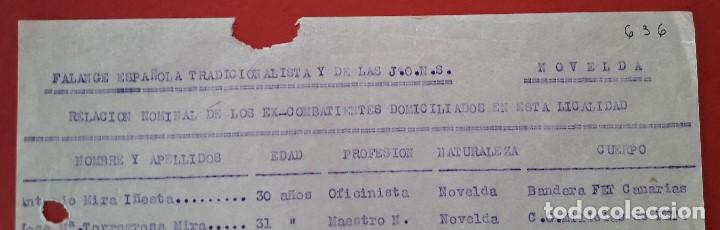 Militaria: RELACION NOMINAL EN NOVELDA SEGUN FALANGE EN EL AÑO 39 DE LOS EX-COMBATIENTES EN LA GUERRA CIVIL - Foto 2 - 204407830