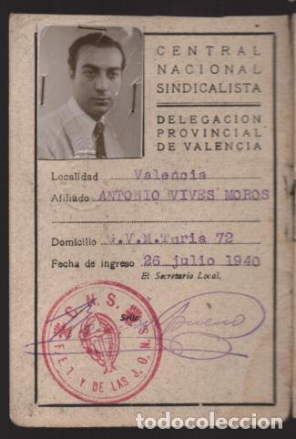 VALENCIA,-CARNET C.N.S.+ FUERO DEL TRABAJO- HOJA DE CUOTAS.- VER FOTOS (Militar - Guerra Civil Española)