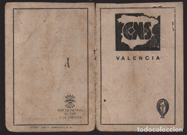 Militaria: VALENCIA,-CARNET C.N.S.+ FUERO DEL TRABAJO- HOJA DE CUOTAS.- VER FOTOS - Foto 2 - 205409558