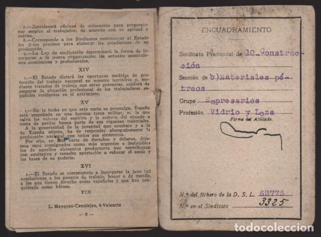 Militaria: VALENCIA,-CARNET C.N.S.+ FUERO DEL TRABAJO- HOJA DE CUOTAS.- VER FOTOS - Foto 5 - 205409558