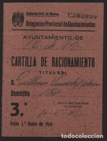 HUESCA.- CARTILLA RACIONAMIENTO. ENERO A ABRIL 1943, COMPLETA.- VER FOTOS (Militar - Guerra Civil Española)