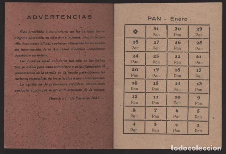 Militaria: HUESCA.- CARTILLA RACIONAMIENTO. ENERO A ABRIL 1943, COMPLETA.- VER FOTOS - Foto 2 - 205410290