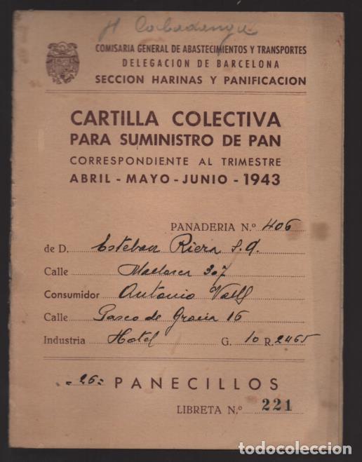 BARCELONA,- CARTILLA RACIONAMIENTO.- PANECILLOS.- VER FOTOS (Militar - Guerra Civil Española)
