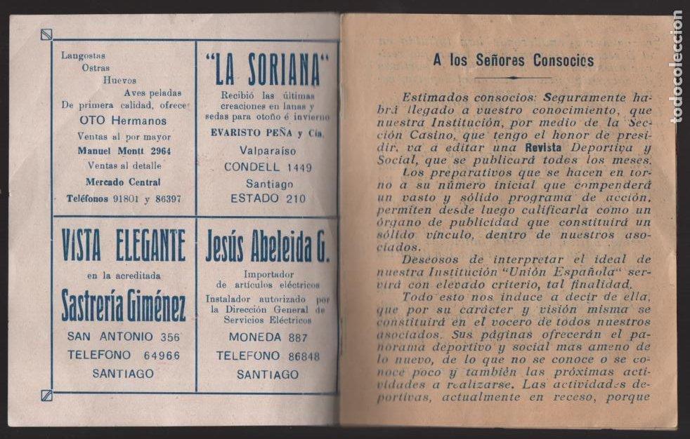 Militaria: SANTIAGO DE CHILE- UNION ESPAÑOLA- PROGRAMA DE FESTEJOS- MAYO 1939.- VER FOTOS - Foto 2 - 205431728