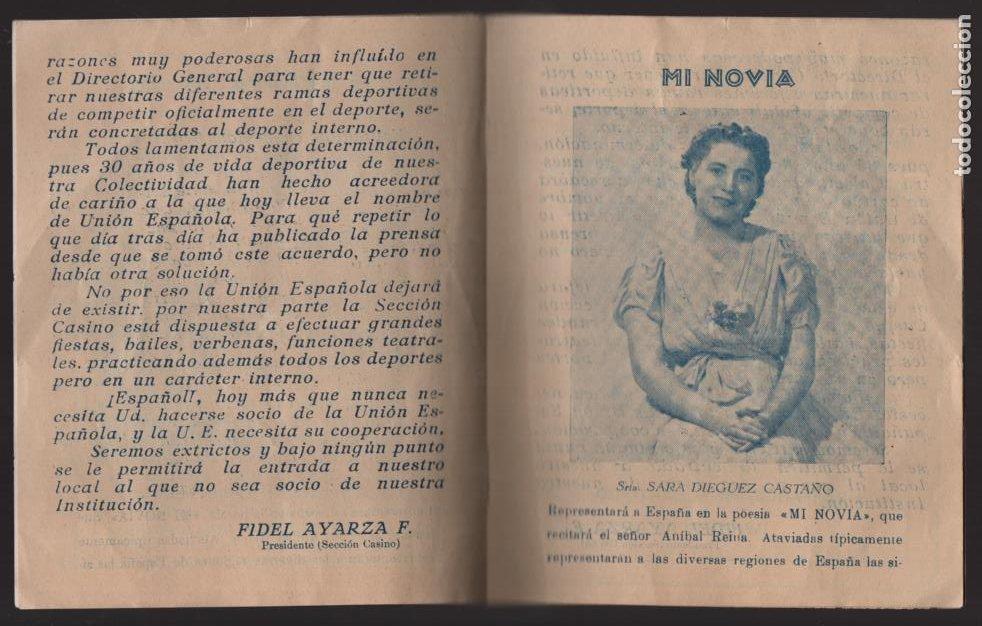 Militaria: SANTIAGO DE CHILE- UNION ESPAÑOLA- PROGRAMA DE FESTEJOS- MAYO 1939.- VER FOTOS - Foto 3 - 205431728