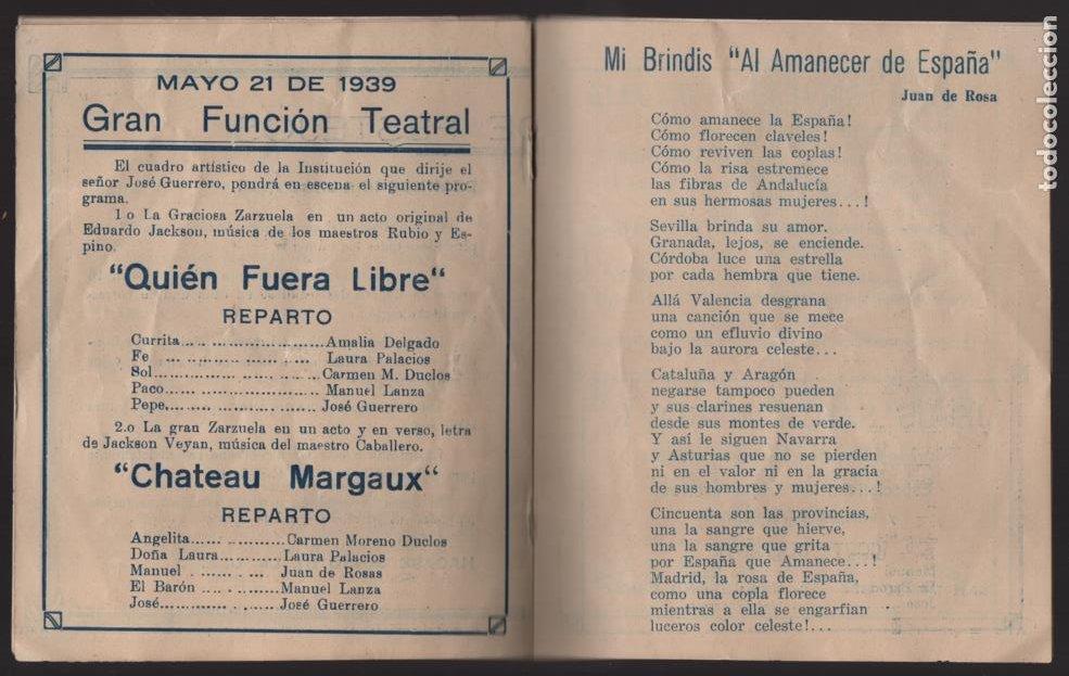 Militaria: SANTIAGO DE CHILE- UNION ESPAÑOLA- PROGRAMA DE FESTEJOS- MAYO 1939.- VER FOTOS - Foto 6 - 205431728