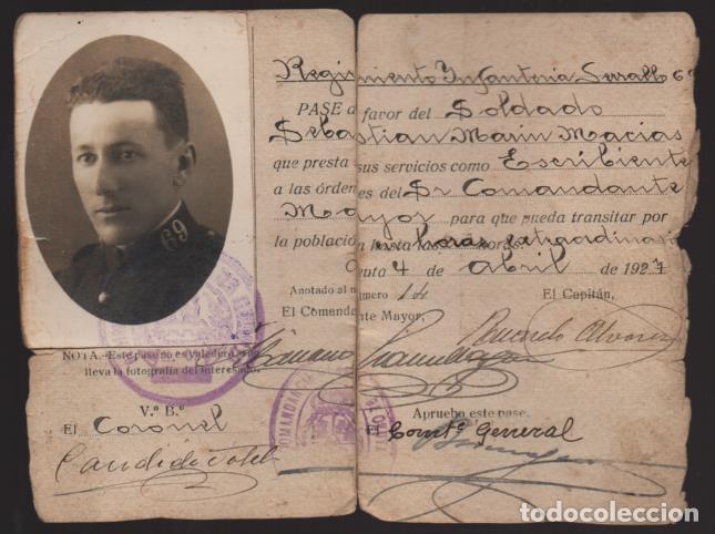CEUTA,- PASE A FAVOR.. -PLANA MAYOR- SERRALLO 69- AÑO 1927.- VER (Militar - Guerra Civil Española)