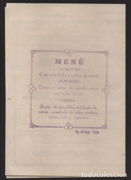 Militaria: PROGRAMA. REGIMIENTOS DE INFANTERIA PAVIA Nº 48 Y ALAVA Nº 56, 8 DICIEMBRE 1918.- VER FOTOS - Foto 2 - 205443056