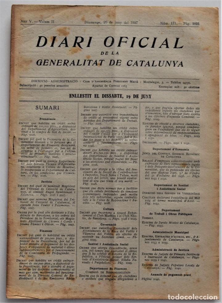 DIARI OFICIAL DE LA GENERALITAT DE CATALUNYA - 20 JUNIO 1937 - EMPRESAS COLECTIVIZADAS, TERRASSA (Militar - Guerra Civil Española)
