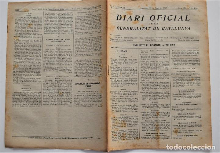 Militaria: DIARI OFICIAL DE LA GENERALITAT DE CATALUNYA - 20 JUNIO 1937 - EMPRESAS COLECTIVIZADAS, TERRASSA - Foto 2 - 205443531