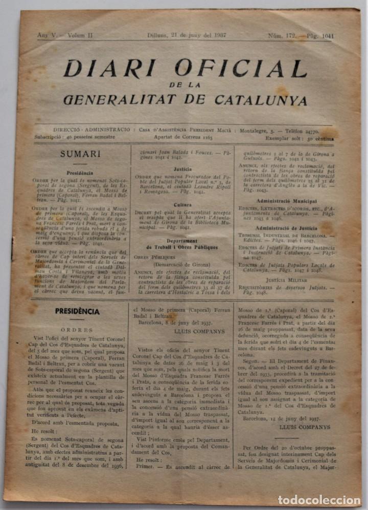 DIARI OFICIAL DE LA GENERALITAT DE CATALUNYA - 21 JUNIO 1937 - BIBLIOTECA GIRONA, TERRASSA, TORTOSA (Militar - Guerra Civil Española)