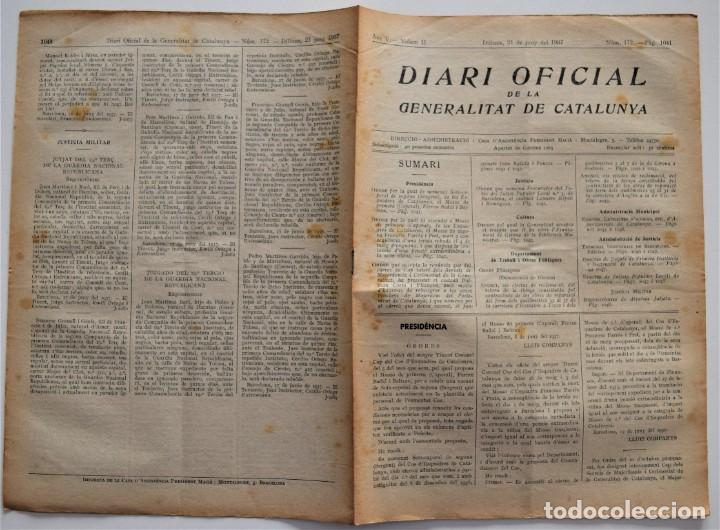 Militaria: DIARI OFICIAL DE LA GENERALITAT DE CATALUNYA - 21 JUNIO 1937 - BIBLIOTECA GIRONA, TERRASSA, TORTOSA - Foto 2 - 205444420
