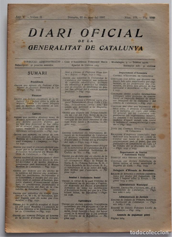 DIARI OFICIAL DE LA GENERALITAT DE CATALUNYA - 22 JUNIO 1937 - EMPRESAS CONTROLADAS Y COLETIVIZADAS (Militar - Guerra Civil Española)