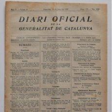 Militaria: DIARI OFICIAL DE LA GENERALITAT DE CATALUNYA - 23 JUNIO 1937 - ACUERDOS BARCELONA GUERRA CIVIL. Lote 205716636