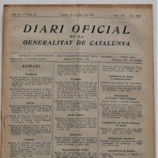 Militaria: DIARI OFICIAL DE LA GENERALITAT DE CATALUNYA - 24 JUNIO 1937 - BLANCAFORT, L´HOSPITALET DE LLOBREGAT. Lote 205720140