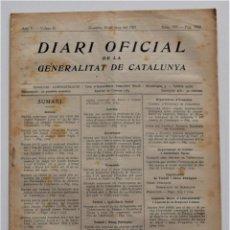 Militaria: DIARI DE LA GENERALITAT DE CATALUNYA, 26 JUNIO 1937 COLECTIVIZACIÓN PANADERÍAS BARCELONA, CASTELLOLÍ. Lote 205724986