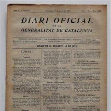 Militaria: DIARI OFICIAL GENERALITAT DE CATALUNYA, 27 JUNIO 1937, ESTATUTO INDUSTRIA FRIGORÍFICA COLECTIVIZADA. Lote 205726160