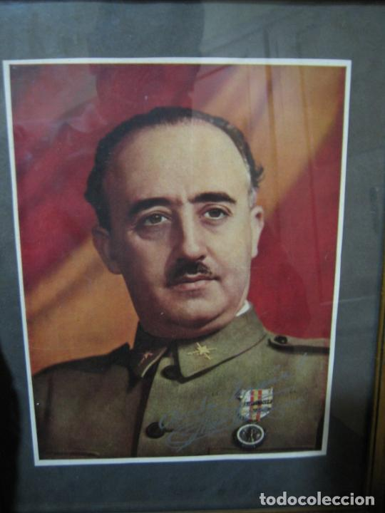 Militaria: Guerra civil.Retrato de Franco que le regaló a Coronel Ciriaco Cascajo. Córdoba. M 35x28 cm - Foto 4 - 206250015