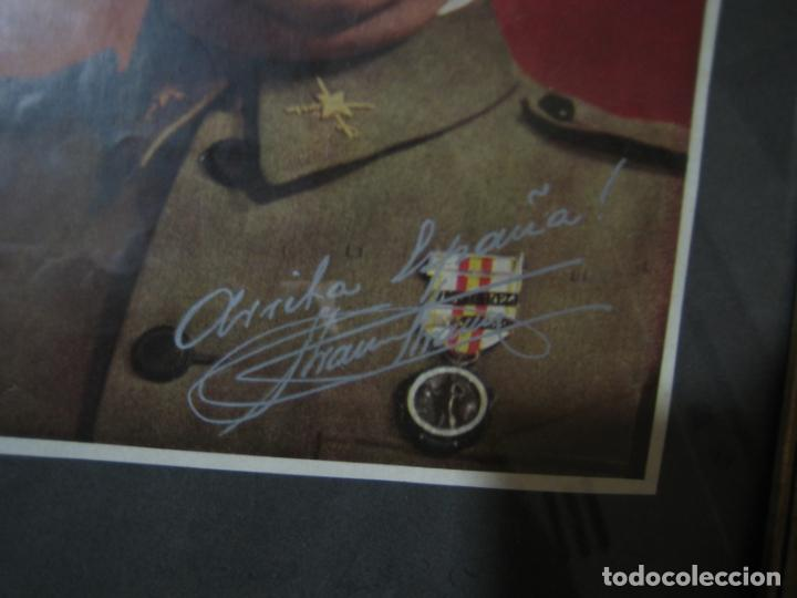 Militaria: Guerra civil.Retrato de Franco que le regaló a Coronel Ciriaco Cascajo. Córdoba. M 35x28 cm - Foto 6 - 206250015