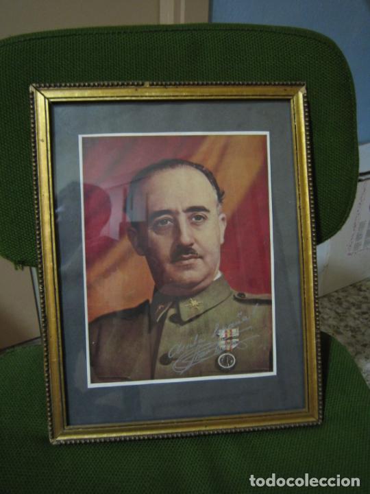 GUERRA CIVIL.RETRATO DE FRANCO QUE LE REGALÓ A CORONEL CIRIACO CASCAJO. CÓRDOBA. M 35X28 CM (Militar - Guerra Civil Española)