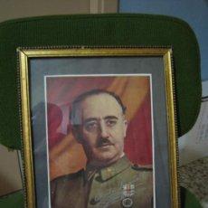 Militaria: GUERRA CIVIL.RETRATO DE FRANCO QUE LE REGALÓ A CORONEL CIRIACO CASCAJO. CÓRDOBA. M 35X28 CM. Lote 206250015