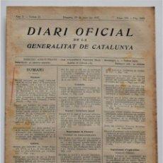 Militaria: DIARI OFICIAL GENERALITAT DE CATALUNYA, 29 JUNIO 1937, EMPRESAS COLECTIVIZADAS, OLOT, CASTELLSARROCA. Lote 206462311