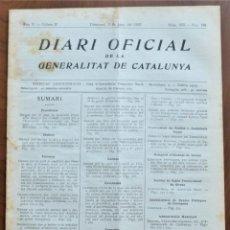 Militaria: DIARI OFICIAL GENERALITAT DE CATALUNYA, 2 JUNIO 1937 - INSTRUCCIONES PRESUPUESTO MUNICIPAL. Lote 206471723