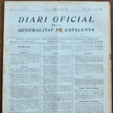 Militaria: DIARI OFICIAL GENERALITAT DE CATALUNYA, 3 JUNIO 1937 - SEGREGACIÓN PALMA DE CERVELLÓ, BADALONA. Lote 206473113