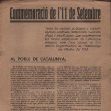 """Militaria: CONMEMORACIO DE L""""11 DE SEPTIEMBRE.- AL POBLE DE CATALUNYA: VER FOTO. Lote 206495340"""