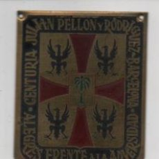 Militaria: BARCELONA- CENTURIA -JULIAN PELLON RODRIG- ALEGRE FRENTE A LA ADVERSIDAD- MIDE: 6 X 5 C.M. VER FOTOS. Lote 206583146