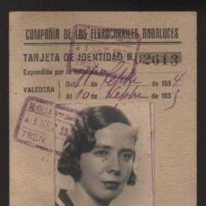 Militaria: CARNET.-FERROCARRILES ANDALUCES , AÑO 1934-1935.- VER FOTOS. Lote 206591222