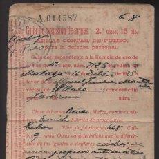 Militaria: LICENCIA DE USO DE ARMAS- EL PALO AÑO 1934.- VER FOTOS. Lote 206591530