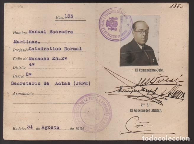 BADAJOZ- CARNET -DEFENSA CIUDADANA- D.MANUEL SAAVEDRA MARTINEZ- JEFE SECRETARIO DE ACTA- 31-08-1936 (Militar - Guerra Civil Española)