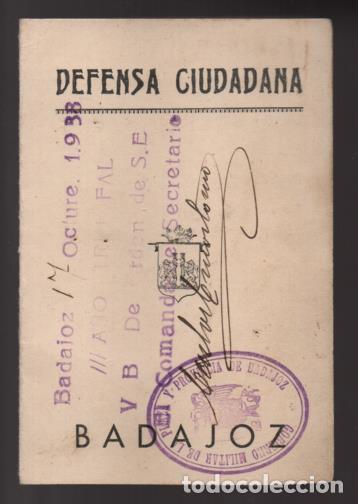 Militaria: BADAJOZ- CARNET -DEFENSA CIUDADANA- D.MANUEL SAAVEDRA MARTINEZ- JEFE SECRETARIO DE ACTA- 31-08-1936 - Foto 2 - 206592523