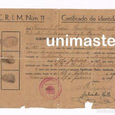 Militaria: SALVO CONDUCTO - CANALS VALENCIA 1939 - GUERRA CIVIL - ACANTONAMIENTO MILITAR C.R.I.M. Nº 11. Lote 207220496
