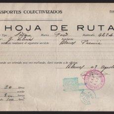 Militaria: BLANES.- HOJA DE RUTA.- C.N.T. U.G.T. 9 AGOSTO 1937- VER FOTO. Lote 207382127