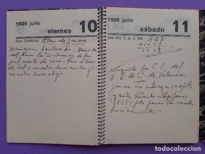 Militaria: AGENDA MANUSCRITA AÑO 1936 COMPRENDE DESDE JULIO A SEPTIEMBRE ILUSTRE SEÑOR - Foto 6 - 207514817