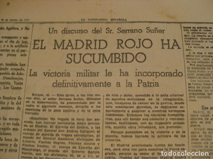 Militaria: LA VANGUARDIA 1939 - MADRID SE HA INCORPORADO A ESPAÑA - COMPLETA - Foto 4 - 207927586