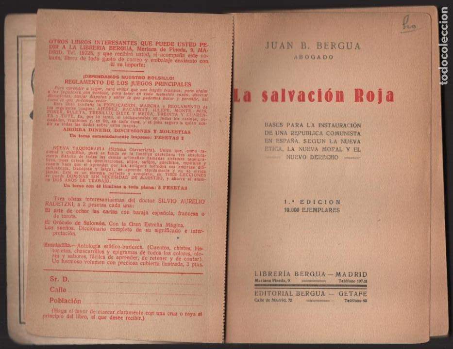 Militaria: P.C. LIBRE ESPAÑOL- -LA SALVACION ROJA- COMPLETO 210 PAG.- MAS BOLETIN ADHESION- VER FOTOS - Foto 4 - 208004135