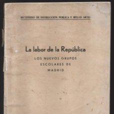 Militaria: LA LABOR DE LA REPUBLICA.-GRUPOS ESCOLARES.- ANICETO ZAMORA- MUCHAS FOTOS DE COLEGIOS- PAG.46 VER FO. Lote 208004328