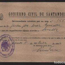 Militaria: SANTANDER- SALVOCONDUCTO PARA SEVILLA.- VER FOTO. Lote 208019508