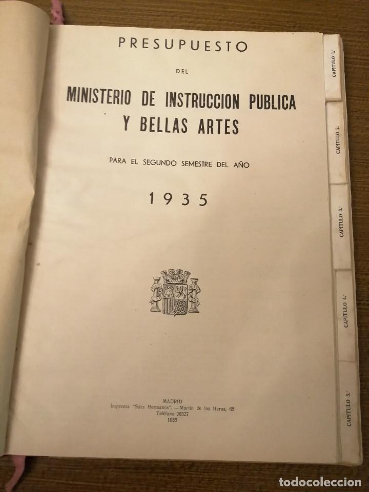Militaria: LIBRO DE PRESUPUESTO-MINISTERIO INSTRUCCION PUBLICA Y BELLAS ARTES- AÑO 1935.- VER FOTOS - Foto 3 - 208121821