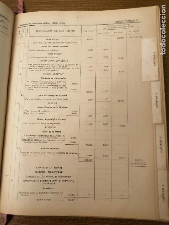 Militaria: LIBRO DE PRESUPUESTO-MINISTERIO INSTRUCCION PUBLICA Y BELLAS ARTES- AÑO 1935.- VER FOTOS - Foto 6 - 208121821